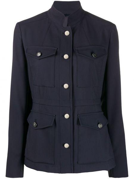 Приталенный синий пиджак с воротником Fay