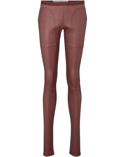 Brązowe legginsy skorzane Rick Owens