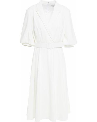 Белое платье с поясом на крючках Badgley Mischka