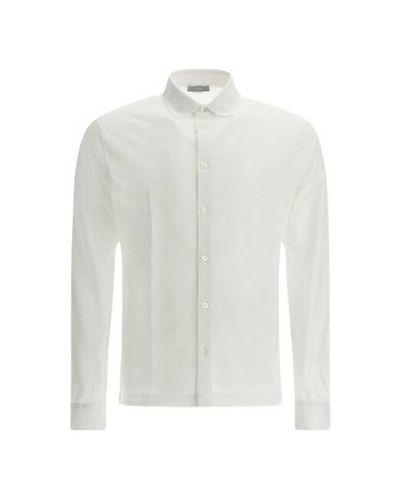 Biała koszula z długimi rękawami - biała Herno
