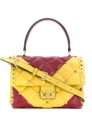 Красная кожаная сумка-тоут круглая Valentino