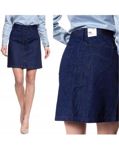 Spódnica jeansowa zapinane na guziki - niebieska Lee