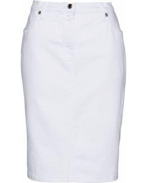 Юбка мини джинсовая белая Bonprix