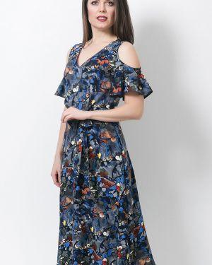 Расклешенное платье миди из штапеля с оборками с вырезом Modellos
