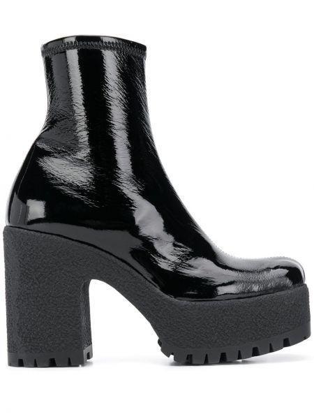 Czarny buty na platformie z prawdziwej skóry na platformie okrągły Miu Miu