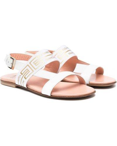 Złote sandały skórzane - białe Elisabetta Franchi La Mia Bambina