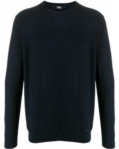 Niebieski bawełna bawełna z rękawami zworki Karl Lagerfeld