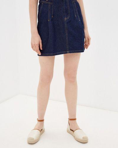 Джинсовая юбка - синяя Naf Naf