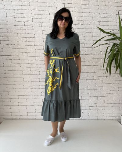 Хлопковое платье миди - хаки Eternal Flame