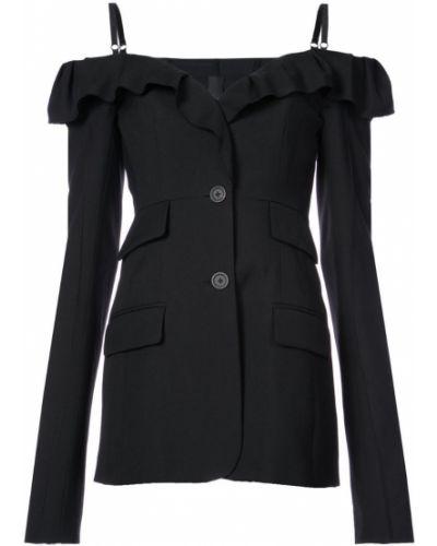 Черный приталенный пиджак с открытыми плечами Vera Wang