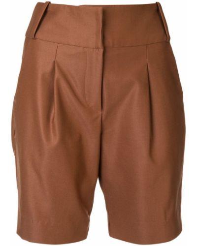 Однобортные коричневые шорты с карманами Manning Cartell