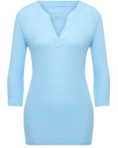 Льняная синяя футболка 120% Lino