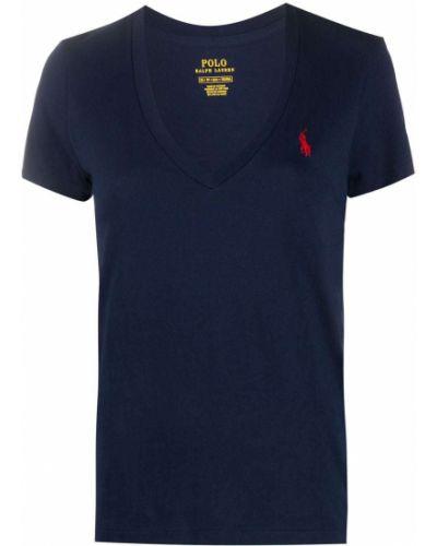 Синяя футболка с вырезом с вышивкой Polo Ralph Lauren