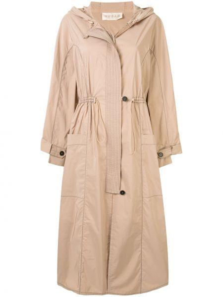 Нейлоновое прямое пальто с капюшоном айвори на пуговицах Ruban