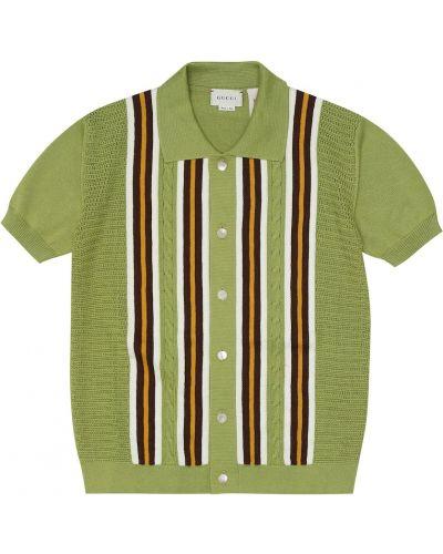 Zielona koszula bawełniana w paski Gucci Kids