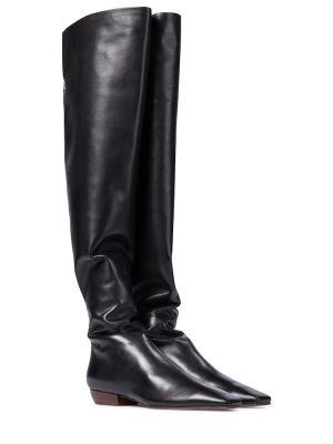 Черные сапоги из натуральной кожи до середины колена The Row