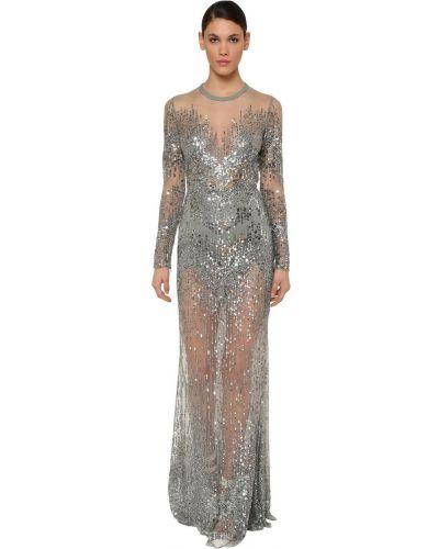 Платье с пайетками на молнии Elie Saab