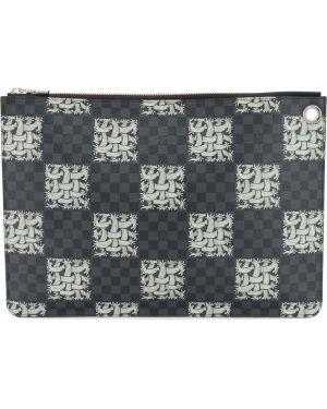 Черный кожаный клатч с карманами Louis Vuitton