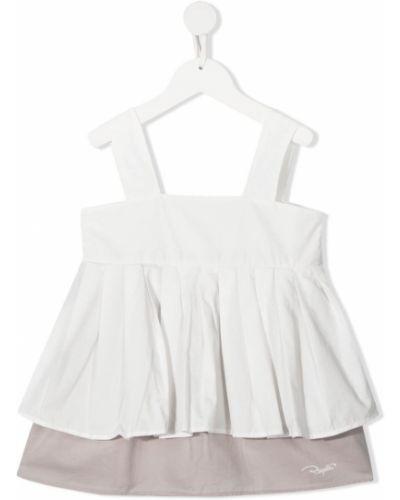 Белая блузка без рукавов квадратная Raquette