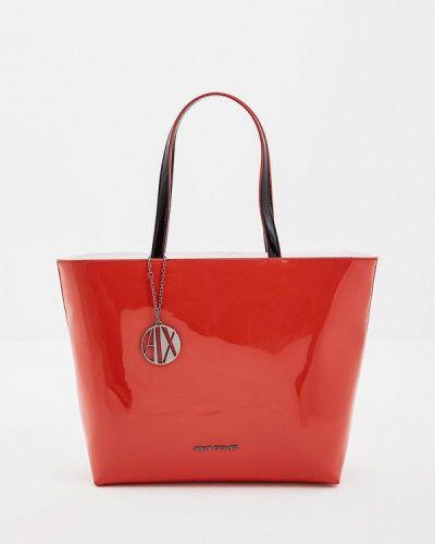 Красная сумка шоппер Armani Exchange