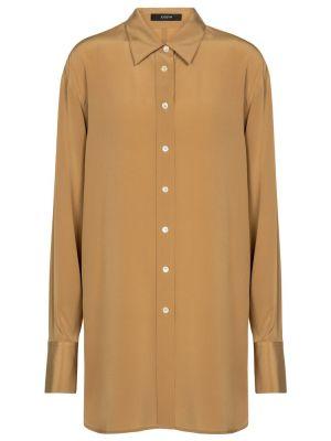 Повседневная коричневая шелковая рубашка Joseph