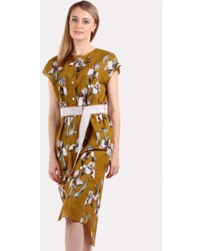 Платье миди весеннее хаки Panove