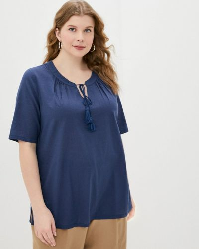 С рукавами синяя блузка Ulla Popken
