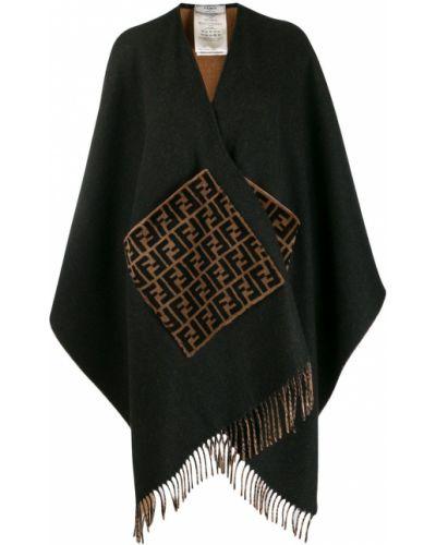 Шерстяное пончо - черное Fendi