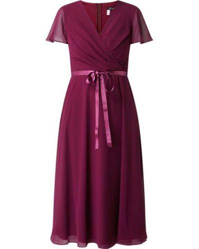 Sukienka koktajlowa rozkloszowana krótki rękaw z szyfonu Paradi