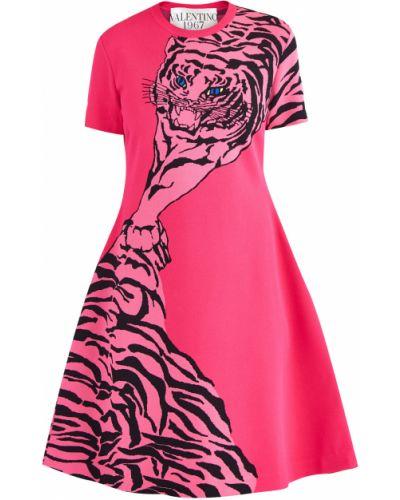 Платье мини с драпировкой в рубчик Valentino
