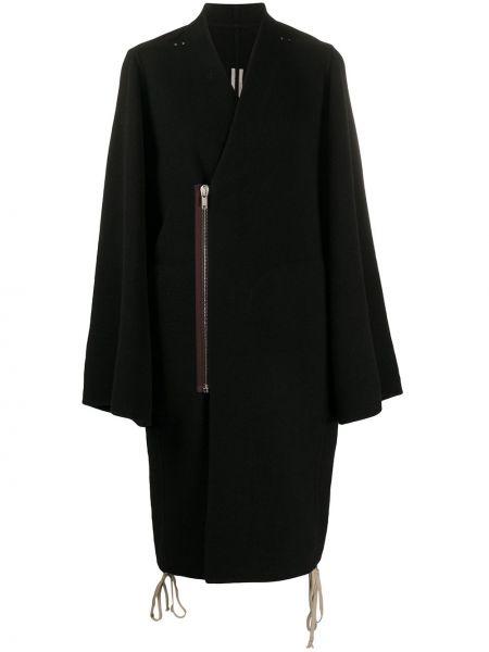 Ze sznurkiem do ściągania czarny długi płaszcz z długimi rękawami z dekoltem w szpic Rick Owens