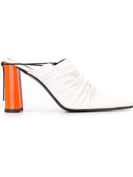 Белые мюли на каблуке с открытой пяткой Nina Ricci