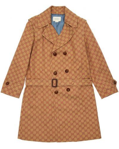 Beżowy płaszcz z paskiem bawełniany Gucci