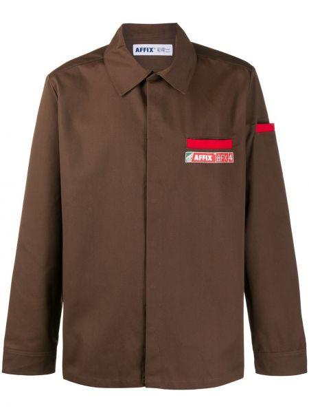 Пляжная коричневая рубашка с нашивками на пуговицах Affix