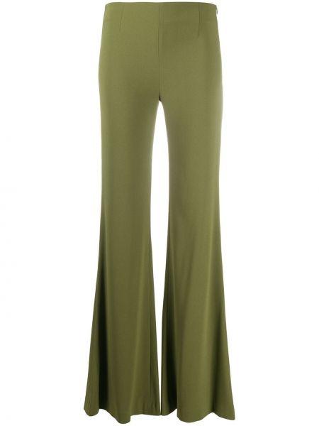 Зеленые расклешенные брюки с поясом с высокой посадкой Galvan