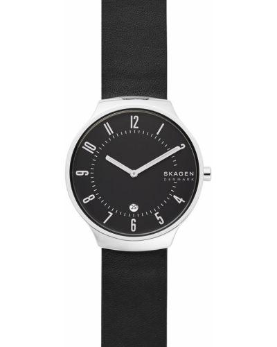 Czarny zegarek kwarcowy skórzany z paskiem Skagen