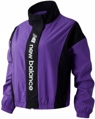 Свободная фиолетовая спортивная куртка с карманами New Balance