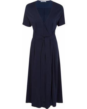 Платье миди с короткими рукавами - синее Hugo Boss