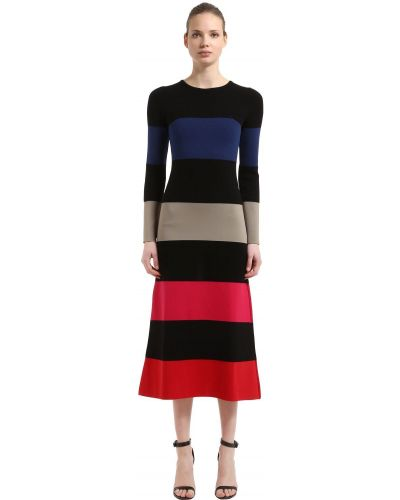 Sukienka długa w paski z długimi rękawami wełniana Sonia Rykiel