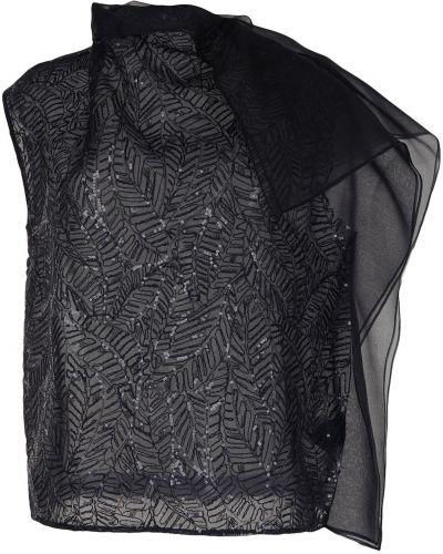 Шелковая черная блузка прозрачная Brunello Cucinelli