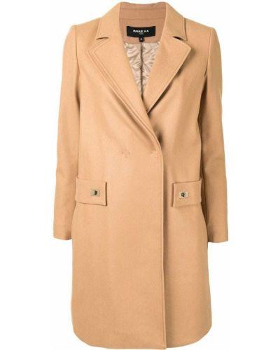 Коричневое шерстяное длинное пальто с лацканами Paule Ka