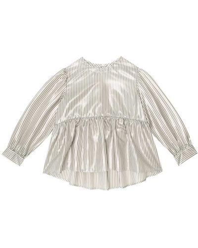 Jedwab bluzka z paskami Brunello Cucinelli Kids