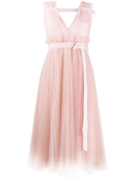 Платье с поясом розовое плиссированное Dice Kayek