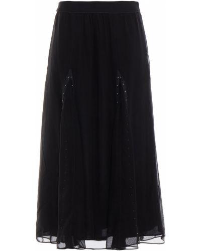 Кожаная юбка миди - черная Coach