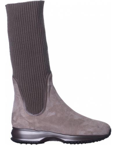 Кожаные сапоги - коричневые Hogan