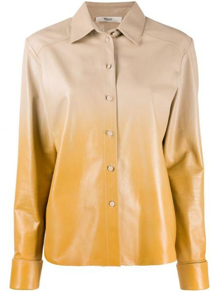 Желтая кожаная классическая рубашка с воротником Bally