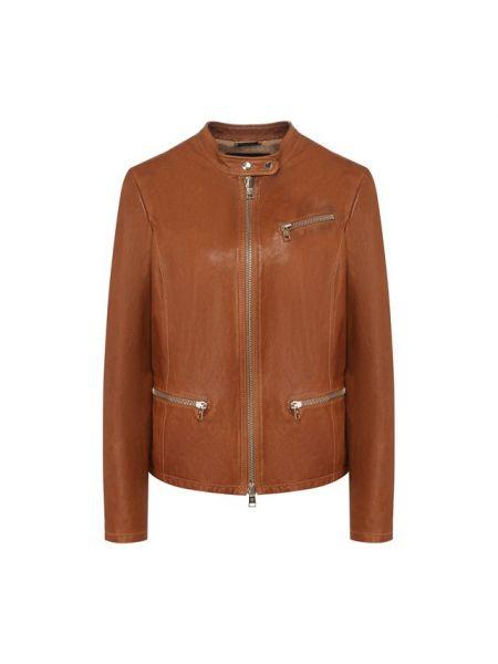 Хлопковая коричневая кожаная куртка с подкладкой Giorgio Armani