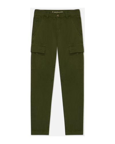 Хлопковые прямые зеленые брюки карго Alpha Industries