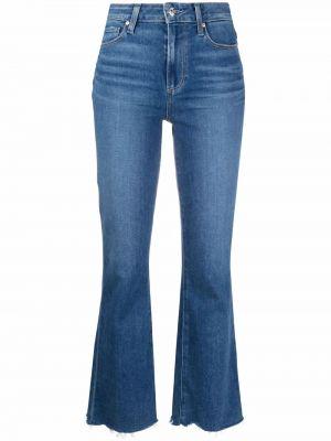 Синие хлопковые зауженные джинсы клеш Paige
