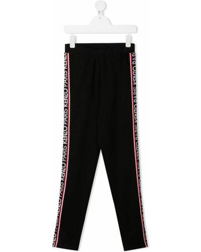 Спортивные черные брюки с высокой посадкой с поясом Kenzo Kids